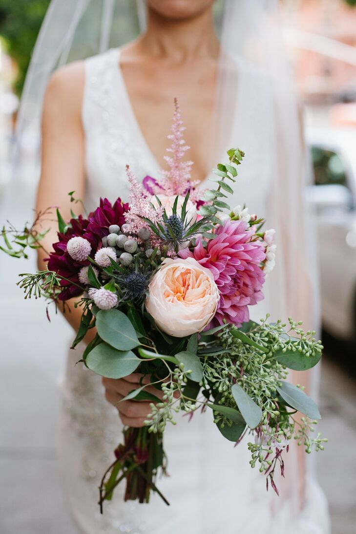 Nicole's pink bouquet featured peonies and dahlias.