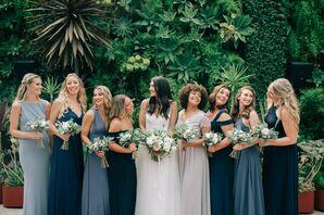 Elegant Bridesmaids in Long Blue Dresses