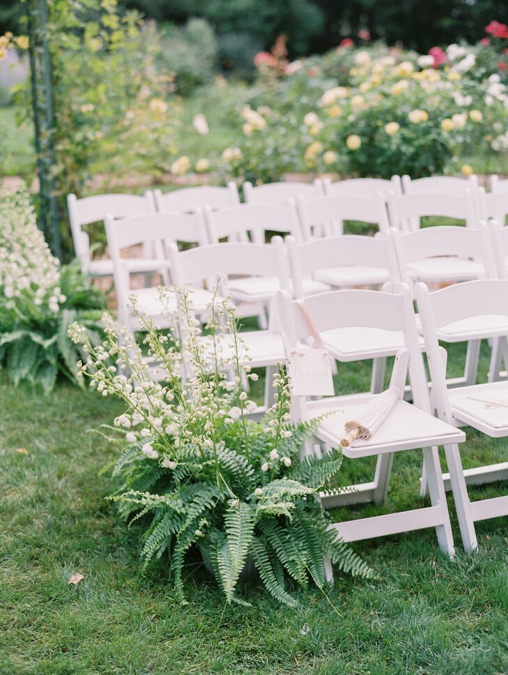 Fern and Hyacinth Aisle Decorations