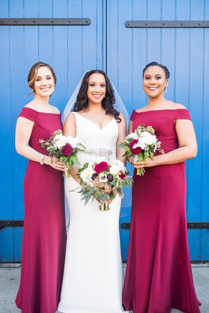 Elegant, Off-the-Shoulder Berry Bridesmaid Dresses