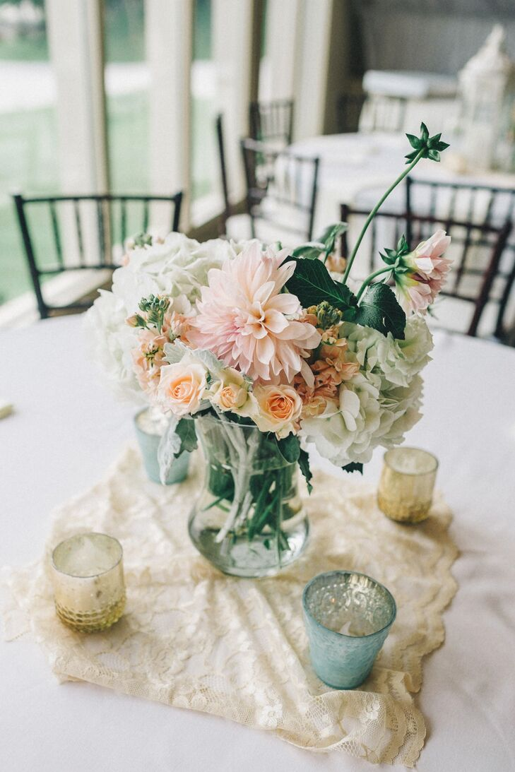 Pastel Dahlia and Rose Centerpieces