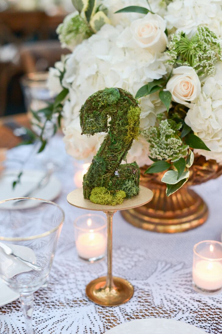 Moss Table Numbers on Gold Stand
