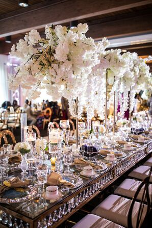 Glam Reception Tables with Tall Orchid Centerpieces