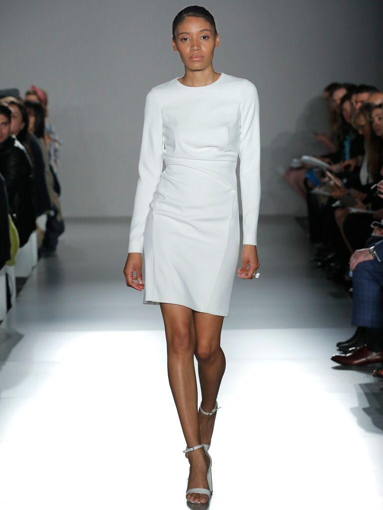 61f1da733af Amsale Little White Dress Spring 2020 Bridal Collection long sleeve white  short cocktail dress
