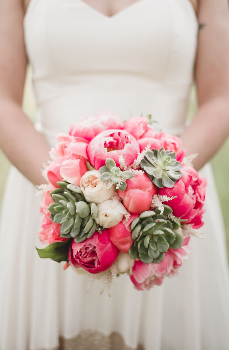 Victoria's bouquet featured succulents, white roses and bright pink peonies.
