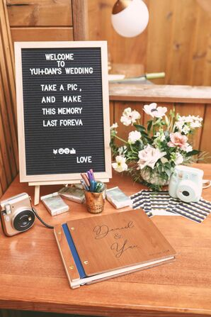 Wooden Guest Book and Letter Board Sign