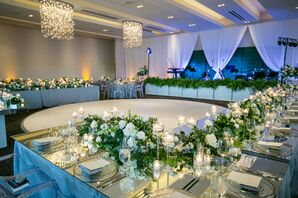 Glam Restaurant Reception with Mirrored Dining Tables