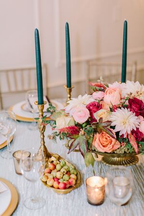 Brass Accents and Peachy Pink Centerpieces
