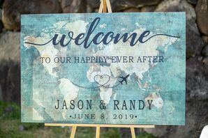 Modern Watercolor Map Wedding Welcome Sign on Wood Easel