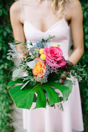 Bridesmaid Bouquets with Roses, Craspedia, Eucalyptus and Tropical Leaves