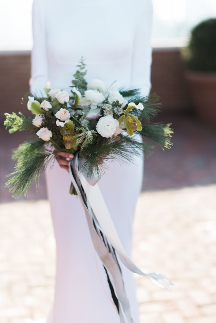 Wintery Pine, Orchid and Rose Bouquet