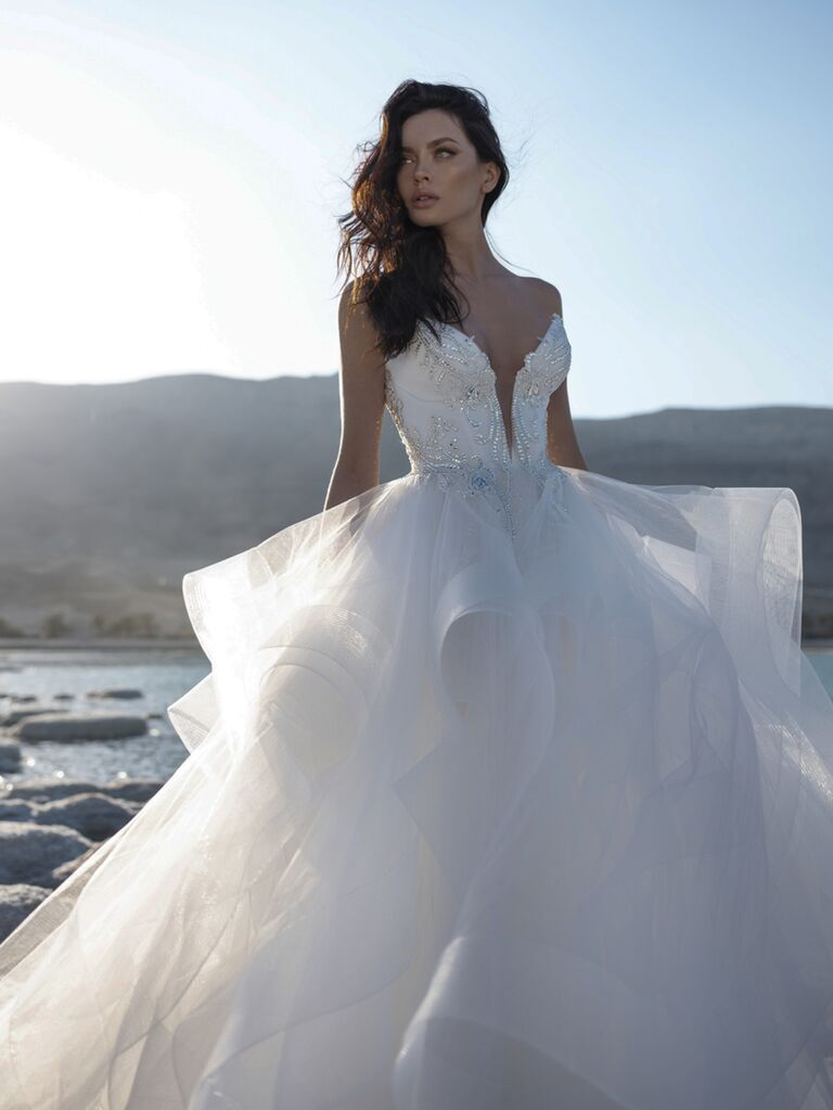Pnina Tornai Spring 2020 Bridal Collection off-the-shoulder ruffled ball gown with beaded bodice