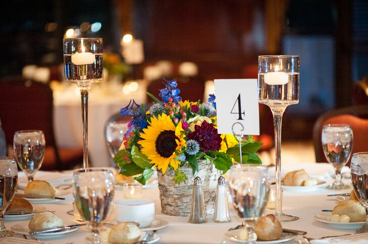 Sunflower, Dahlia, Hypericum Centerpieces with Candles