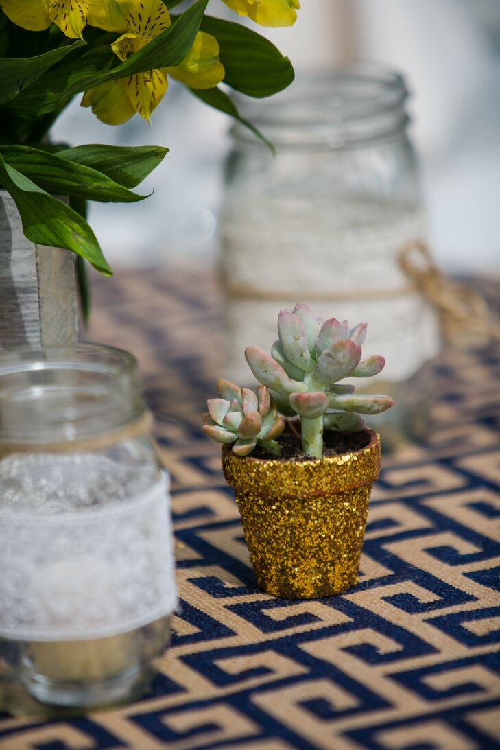 Gold Sparkly Potted Succulent