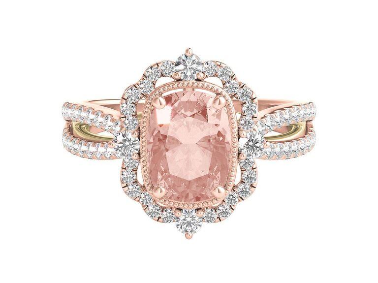 Truly Zac Posen morganite and diamond engagement ring in 14K rose gold