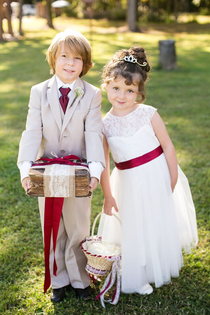 Burgundy and Khaki Children's Attire