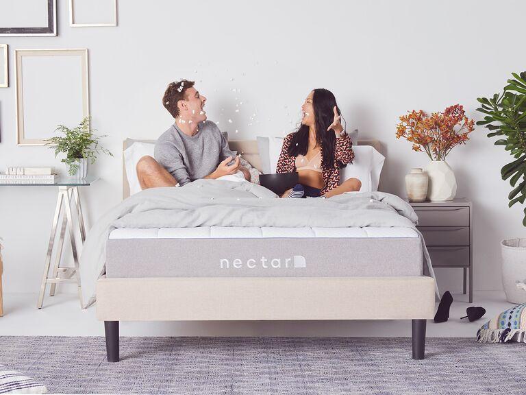 Couple enjoying the nectar memory foam mattress