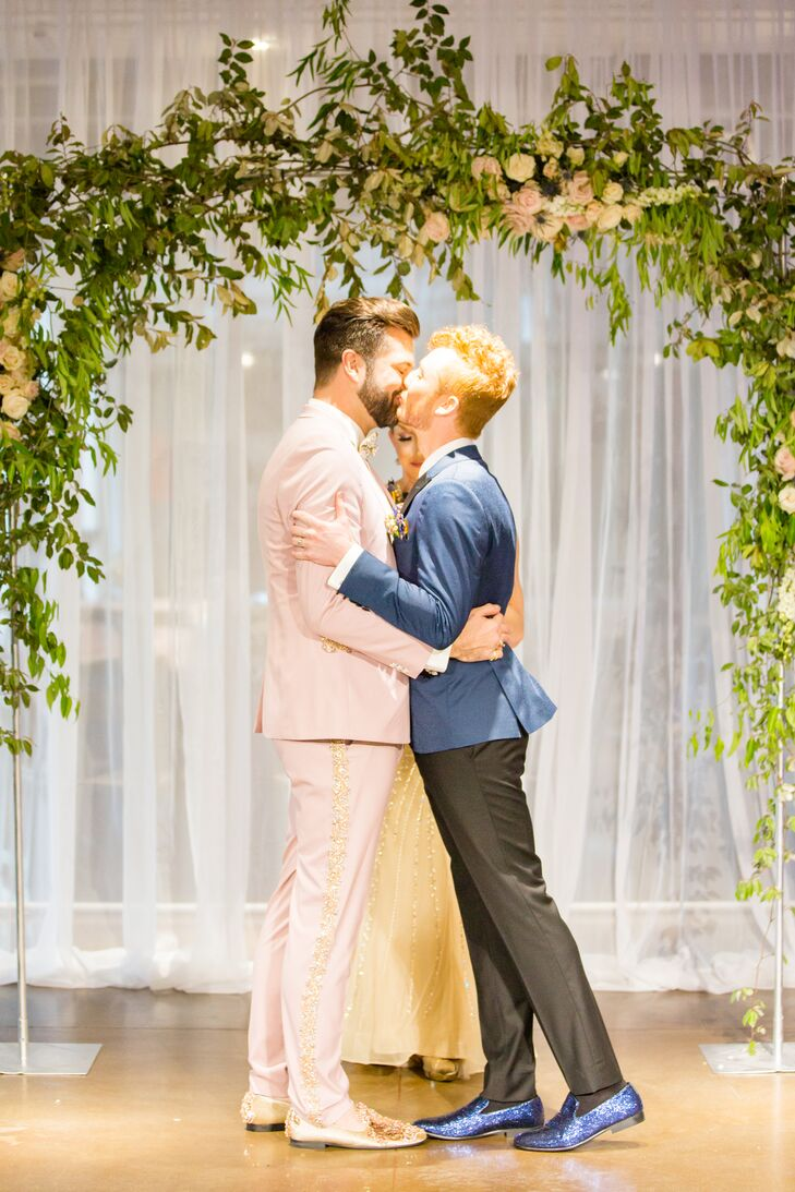Chic Grooms Sharing First Kiss at Museum Ceremony