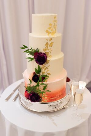 Modern Hand-Painted Wedding Cake with Fondant and Flowers