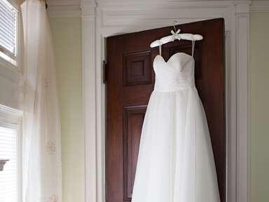 Hanging strapless wedding dress