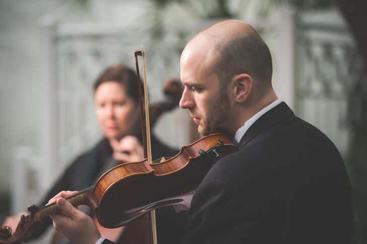 """""""Throughout the wedding and brunch, a cello and violin duet played,"""" says Rebecca. """"I played the violin growing up and asked that they play several pieces that were my mother's favorites."""""""