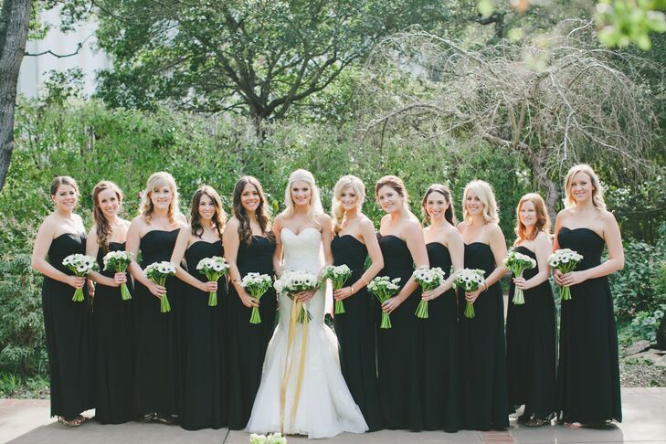 Black Floor-Length Strapless Bridesmaid Dresses