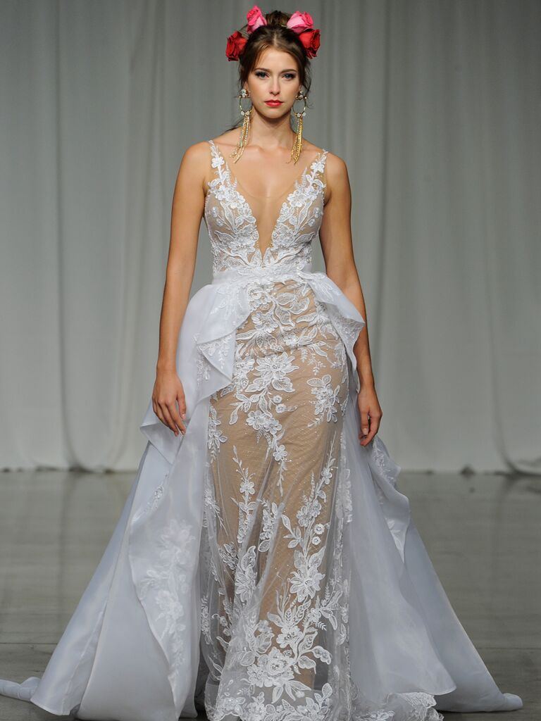 Julie Vino Spring 2019 sheer illusion wedding dress with a plunging neckline and organza train