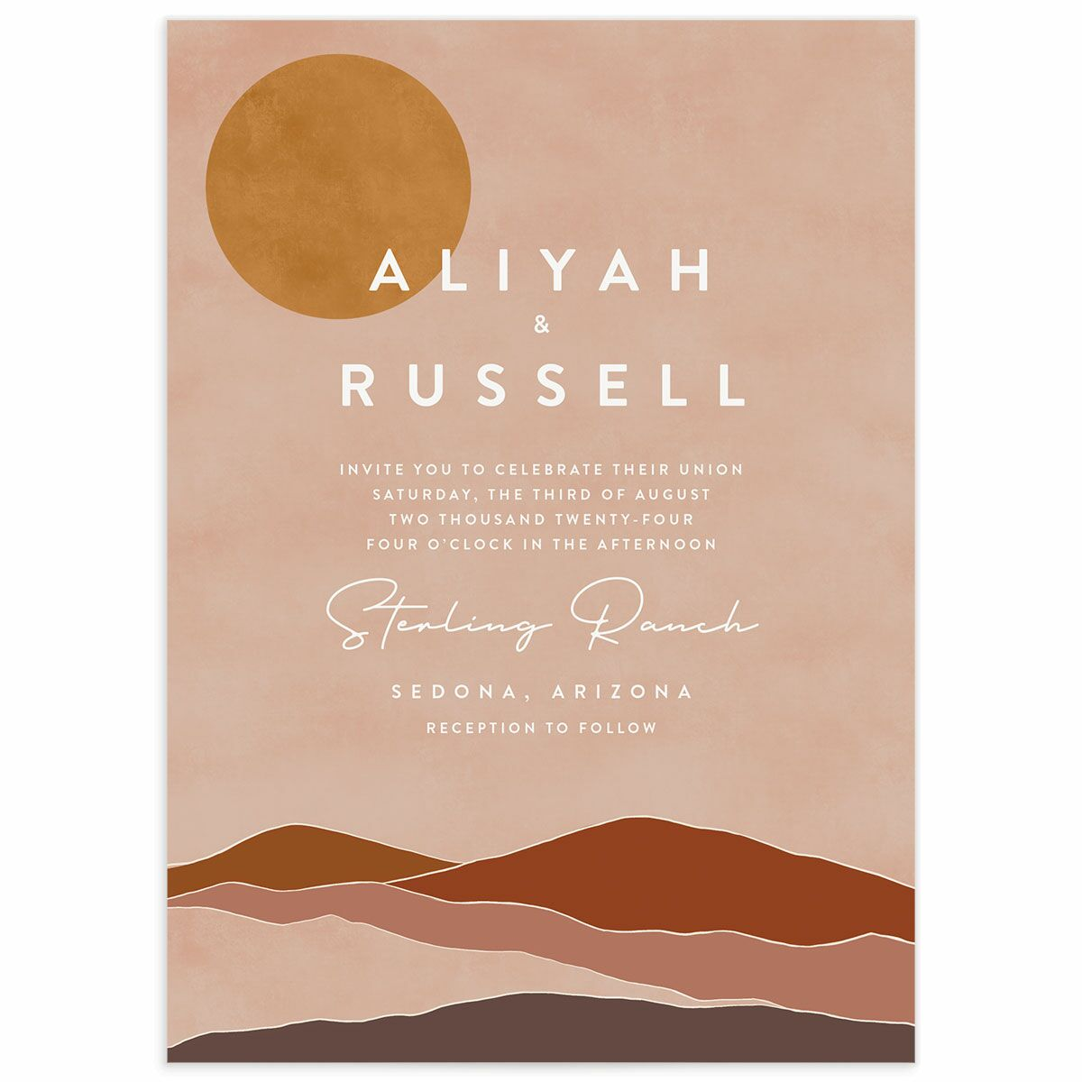 A Wedding Invitation from the Abstract Hills Collection