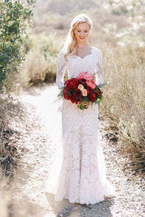 White Lace Sleeved Anne Barge Wedding Gown