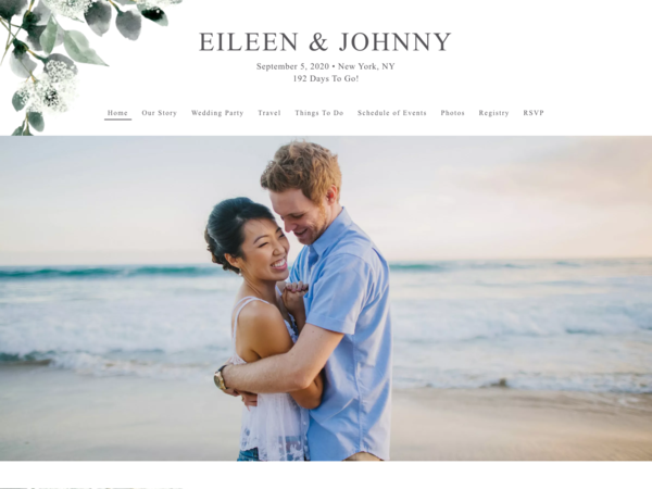 Elegant Greenery Wedding Website Template, The Knot