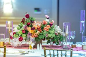Candles and Centerpiece with Garden Roses, Peonies and Protea