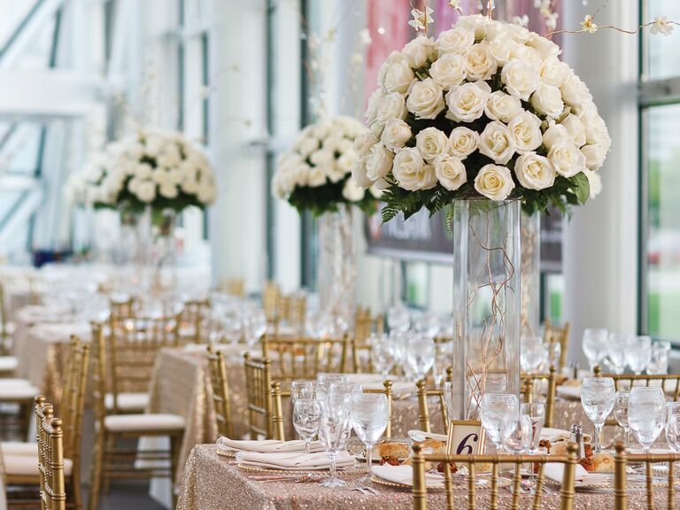 You need these points on your reception venue contract tall white rose centerpieces at indoor wedding reception venue junglespirit