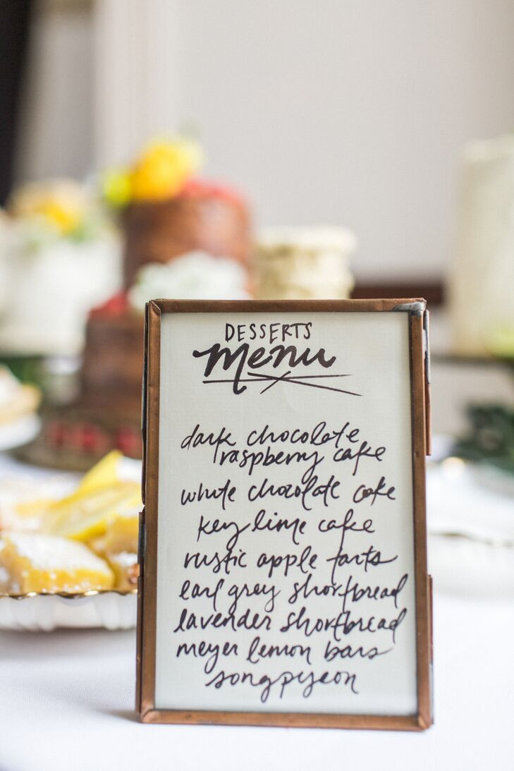 Calligraphy Dessert Table Menu Sign