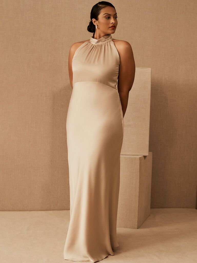 long satin gown with halter neckline