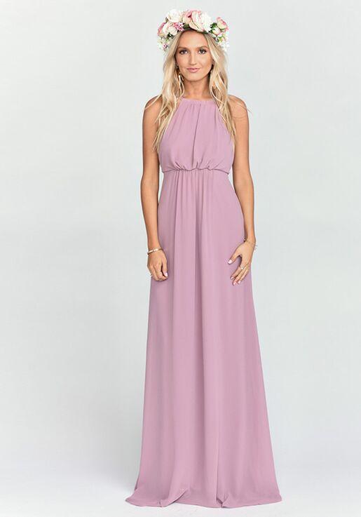 Show Me Your Mumu Amanda Maxi Dress Antique Rose Chiffon Halter Bridesmaid