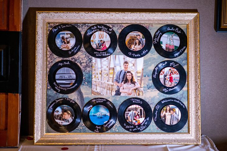Leah and Cody collected vinyl records at thrift stores to use in both their wedding decor and guest book. Their friends and family signed the records before they were framed with an engagement photo for a beautiful, lasting memento.