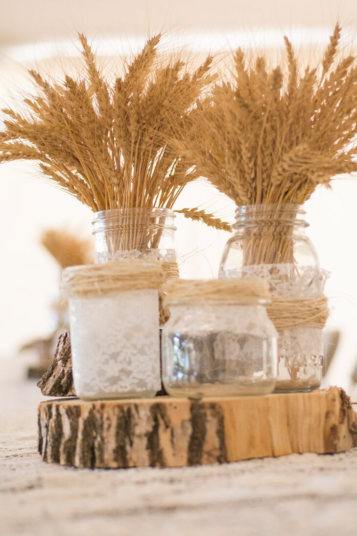 Mason Jar Wedding Centerpieces.Vintage Lace Wrapped Mason Jar Wedding Centerpieces