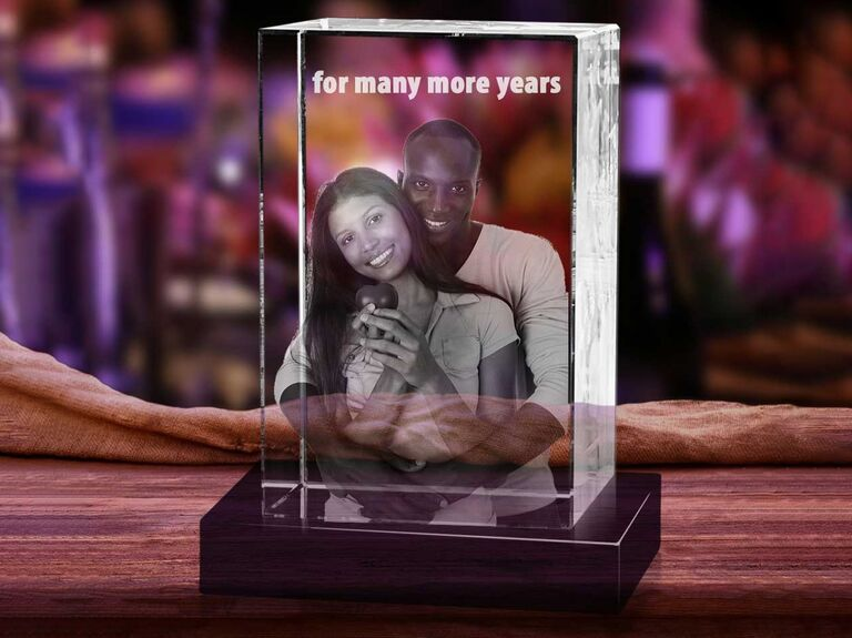 3D crystal ornament with picture of couple and engraved text reading For Many More Years