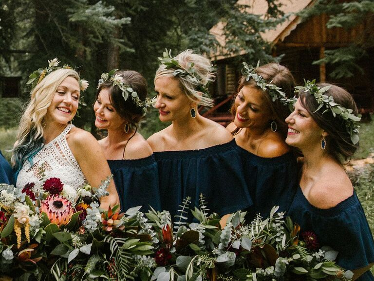 Bridesmaid updo flower crown