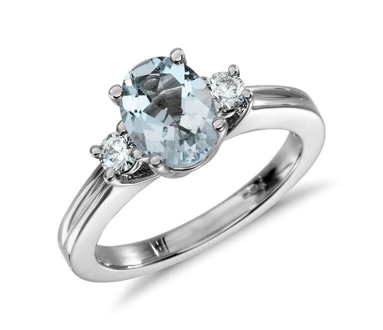 aquamarine oval engagement ring