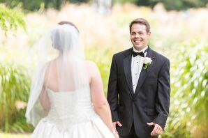 Black Wedding Tuxedo and White Boutonniere