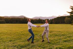 Same-Sex Couple Dancing in Field in Stowe, Vermont