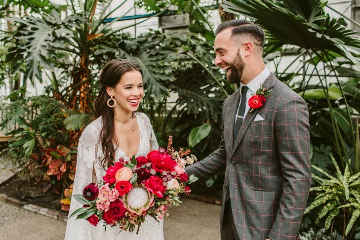 Bride and Groom at Fairmount Park Horticulture Center Wedding