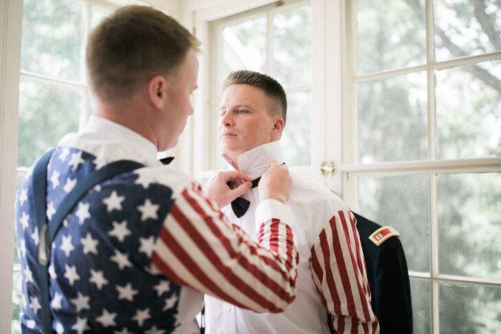 Adding an unconventional yet festive touch to their traditional wedding day duds, Thomas and his groomsmen sported American-flag-inspired shirts under their service uniforms and tuxedos, which were revealed to guests during the reception.