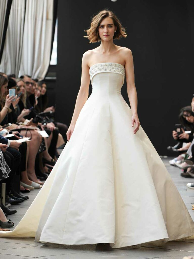 Am Spring 2019 Collection Silk Faille Seamed Ball Gown With Hand Beaded Crystal Pear Folded Neckline