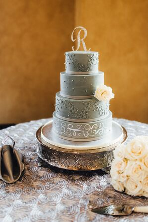 Gray Hand-Painted Wedding Cakes