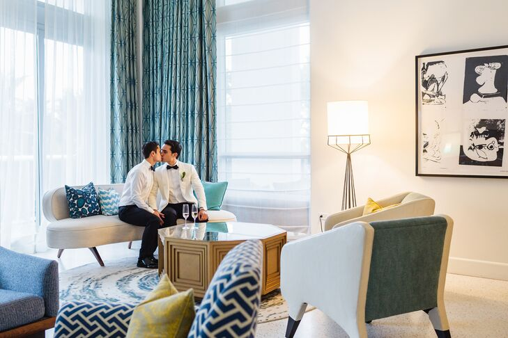 """The interior of the hotel is a throwback heyday of Miami Beach in the 1940s and '50s, and we wanted our wedding to complement that aesthetic,"" Wes says. ""Since we are two men, we wanted the overall style to be masculine, clean and classic."""