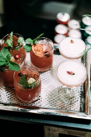 Modern Signature Cocktails on Silver Tray