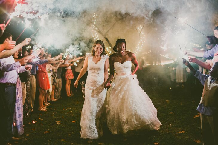 The newlyweds ended the night by running through a canopy made from sparklers held by friends and family members.