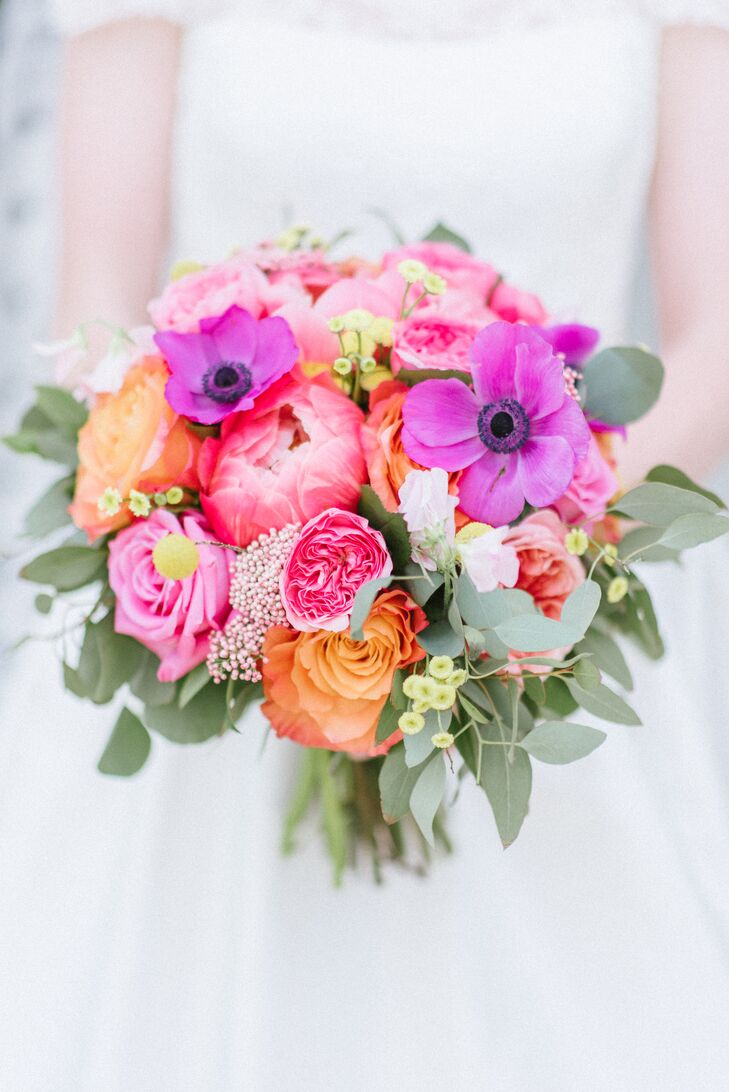 Modern Pink Bouquet of Heritage Roses and Anemones